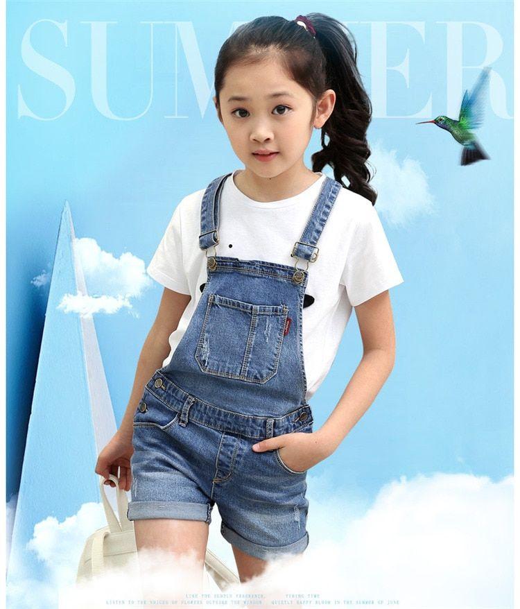 053e1400c424 2018 summer children s clothes girls overalls causal blue denim strap girls  jeans for big girls kids shorts jeans overalls