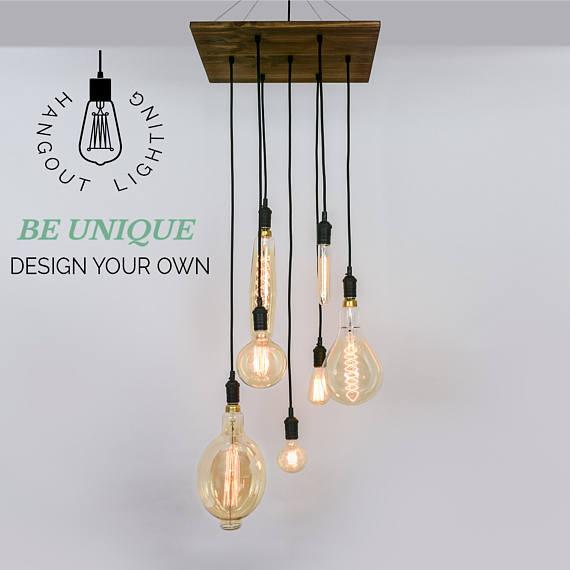 Custom 7 pendant wood chandelier x large edison bulbs industrial pendant light square chandelier wood hangout lighting
