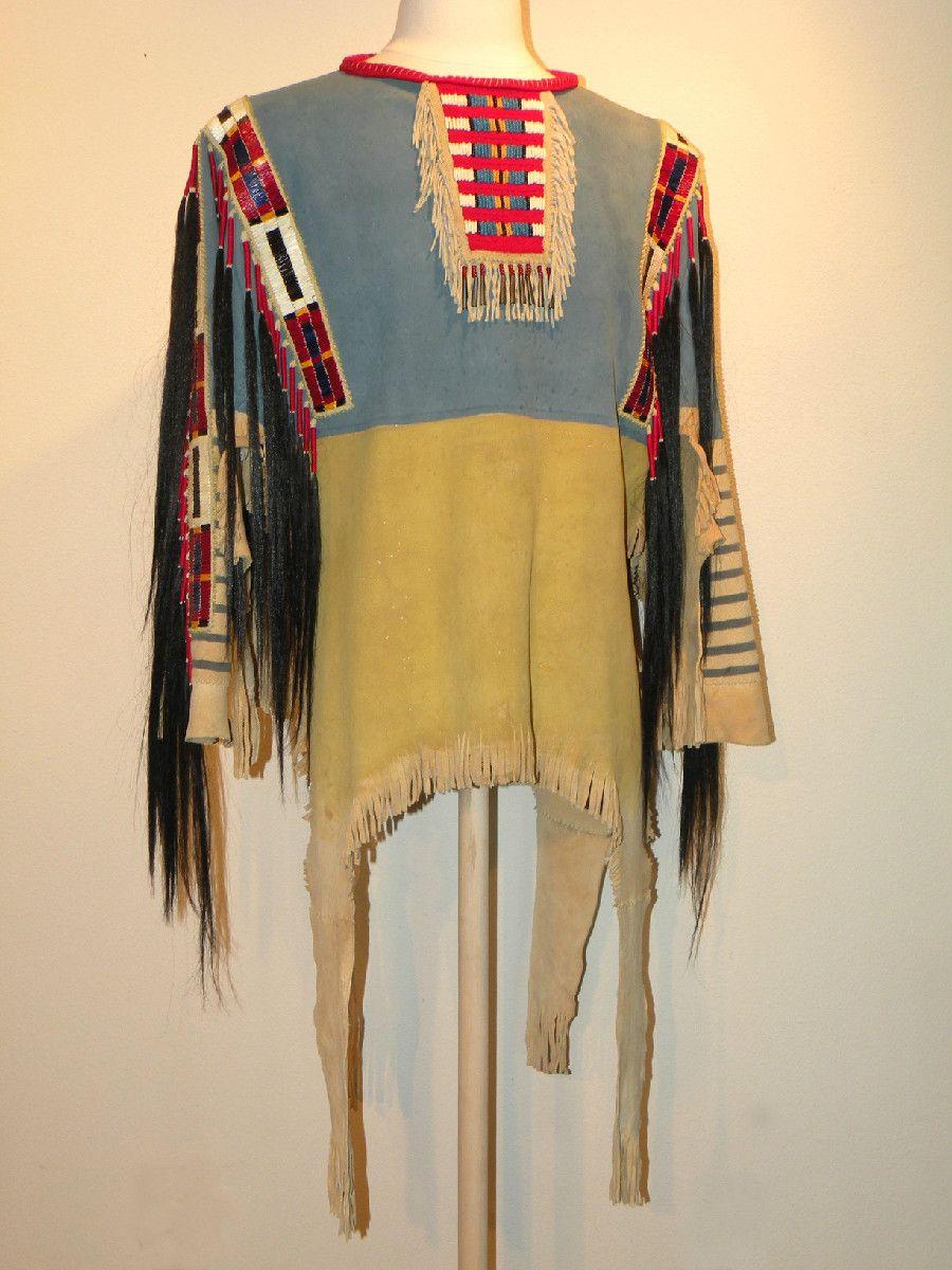 buckskin clothing | Buckskin war shirt quill work ...