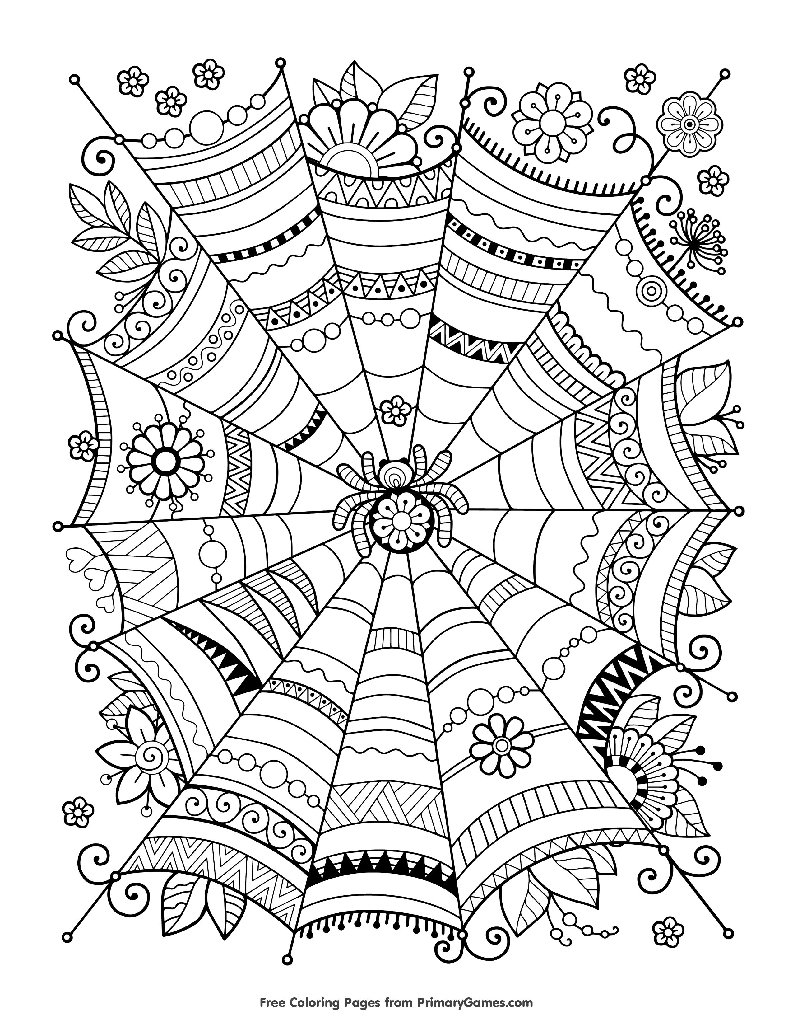 Halloween coloring pages ebook zentangle spider web adult