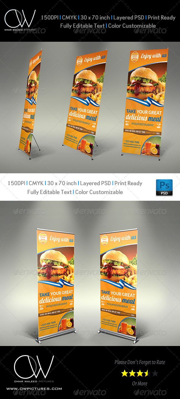 Burger Restaurant Roll-Up - Signage Template Vol4 Signage - auto detailing flyer template
