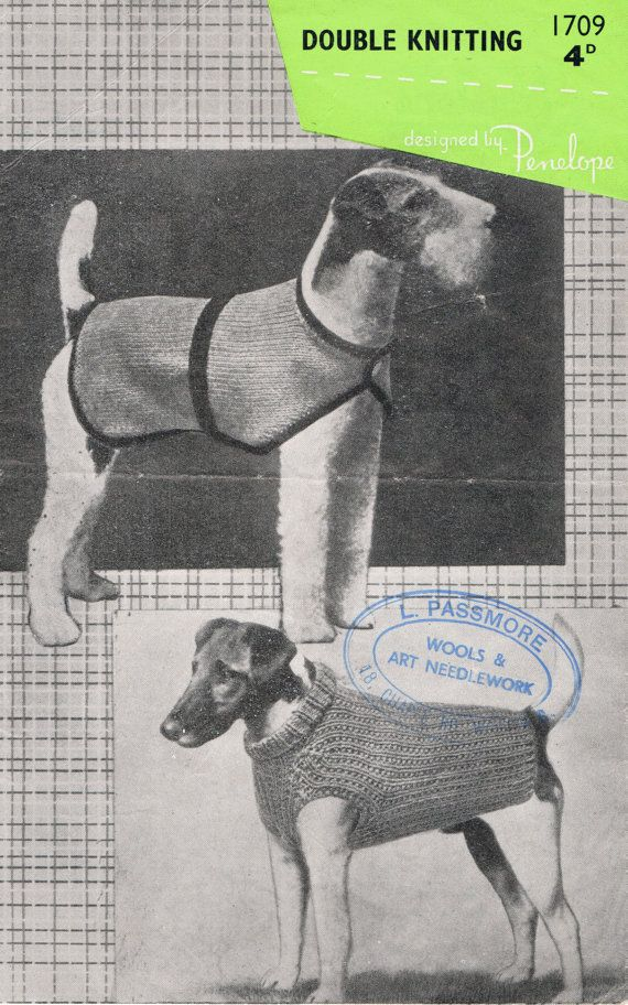 #Dog Sweater Knitting Pattern #Vintage #1950s Very Smart PDF Pattern (T215). 3.20, via Etsy.