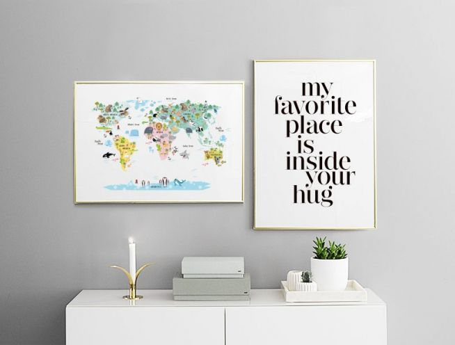 World map animals poster for the home pinterest animal world map animals poster gumiabroncs Images