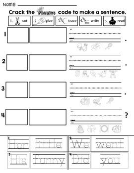 jolly phonics crack the code sentences build sentences by cutting gluing tracing sight high. Black Bedroom Furniture Sets. Home Design Ideas