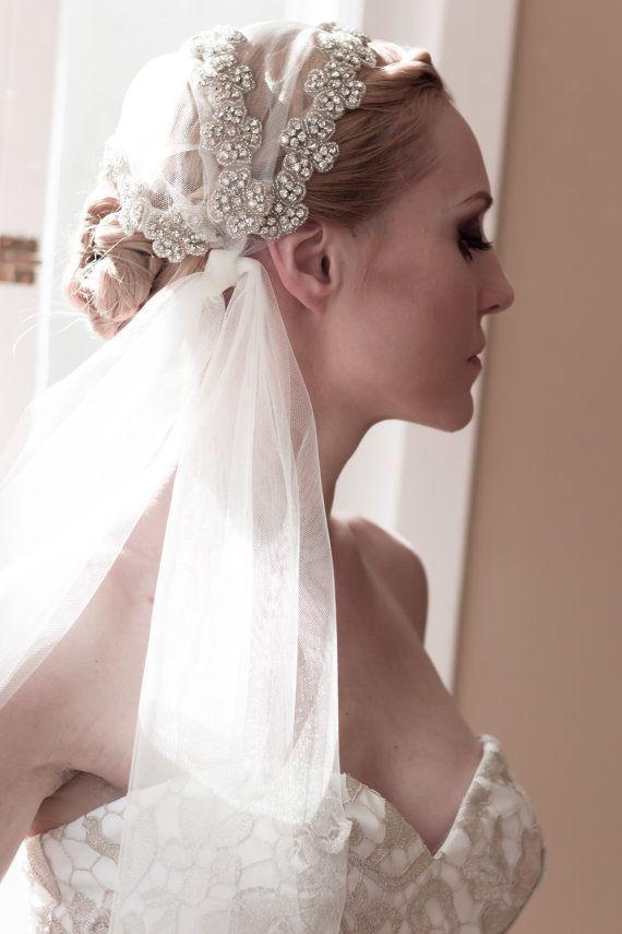 Cap Bridal Veils Juliet Wedding Veil Unique Rhinestone Covered By Veiledbeauty