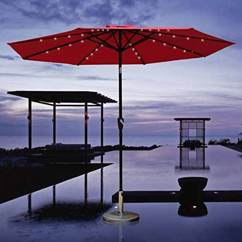 COBANA 9 Ft Solar Lighted Outdoor Table Aluminum Patio Umbrella With Tilt  And 32 Solar Powered