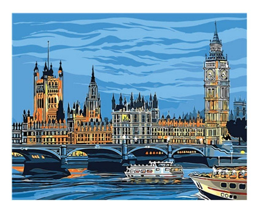 Landscape Paint By Number Kit Big Ban London Diy Painting On Canvas Paint 16 20 Coloring By Number Paint By Number Paint By Number Kits Houses Of Parliament