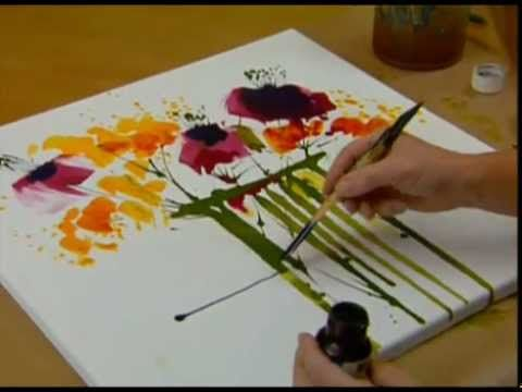 Abstract Floral Painting Demo Time Lapse Abstraktes Blumenbild