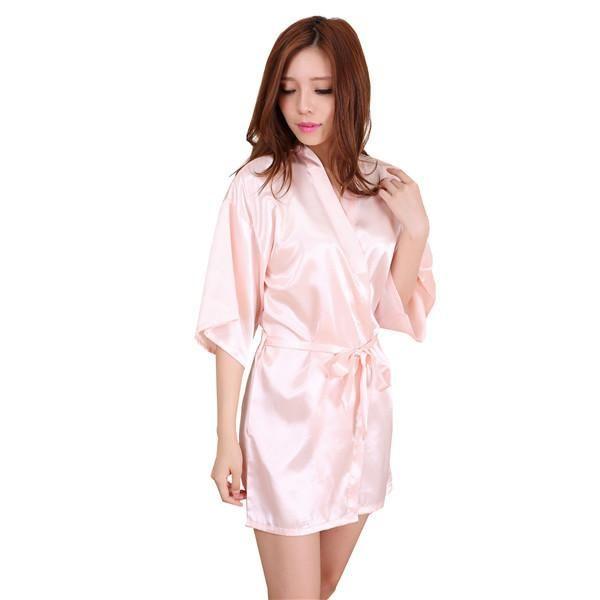New Black Chinese Women s Faux Silk Robe Bath Gown Hot Sale Kimono Yukata  Bathrobe Solid Color Sleepwear S M L XL XXL NB032 040473238432