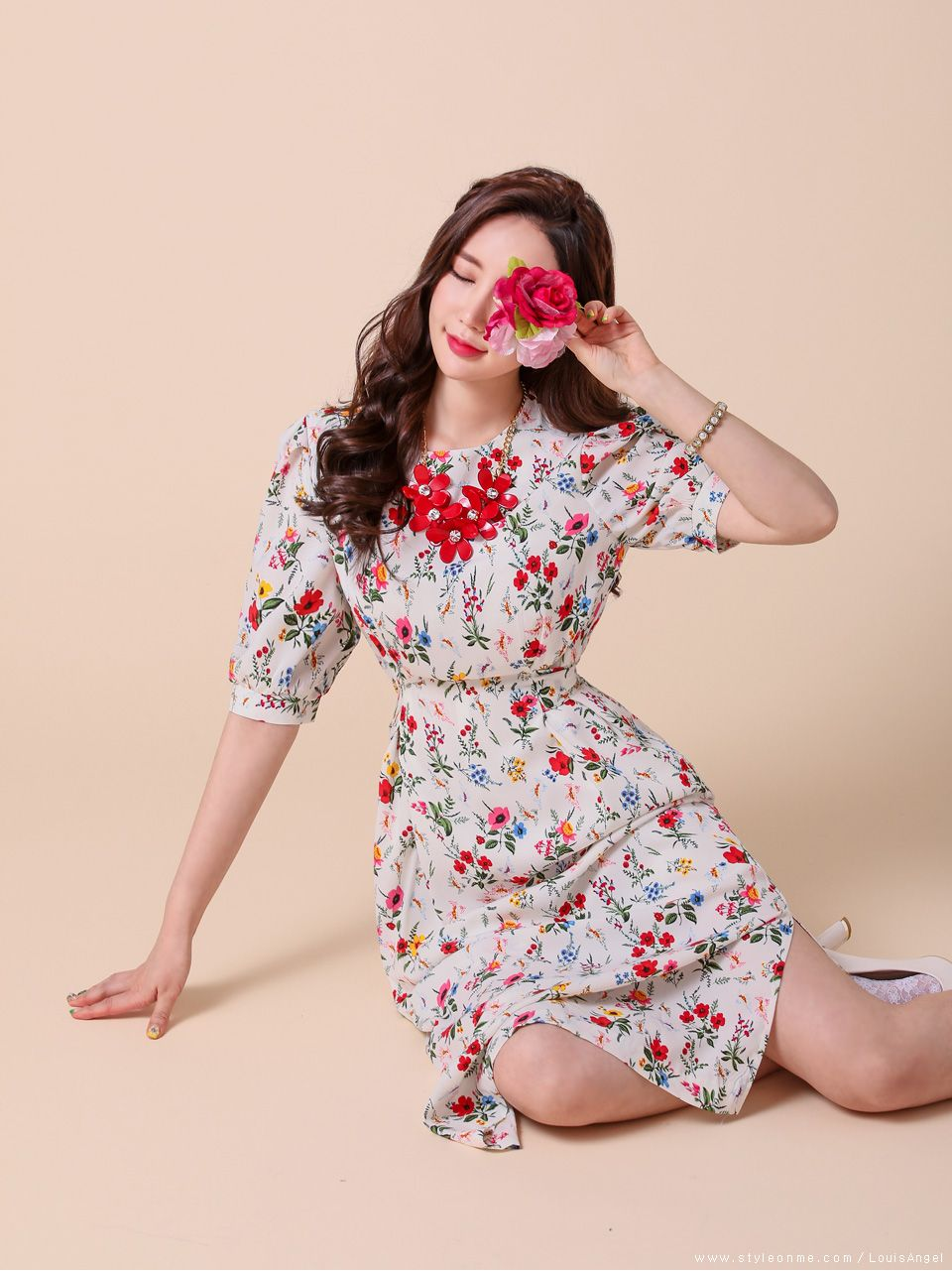 Floral print balloon sleeve long dress korean fashion