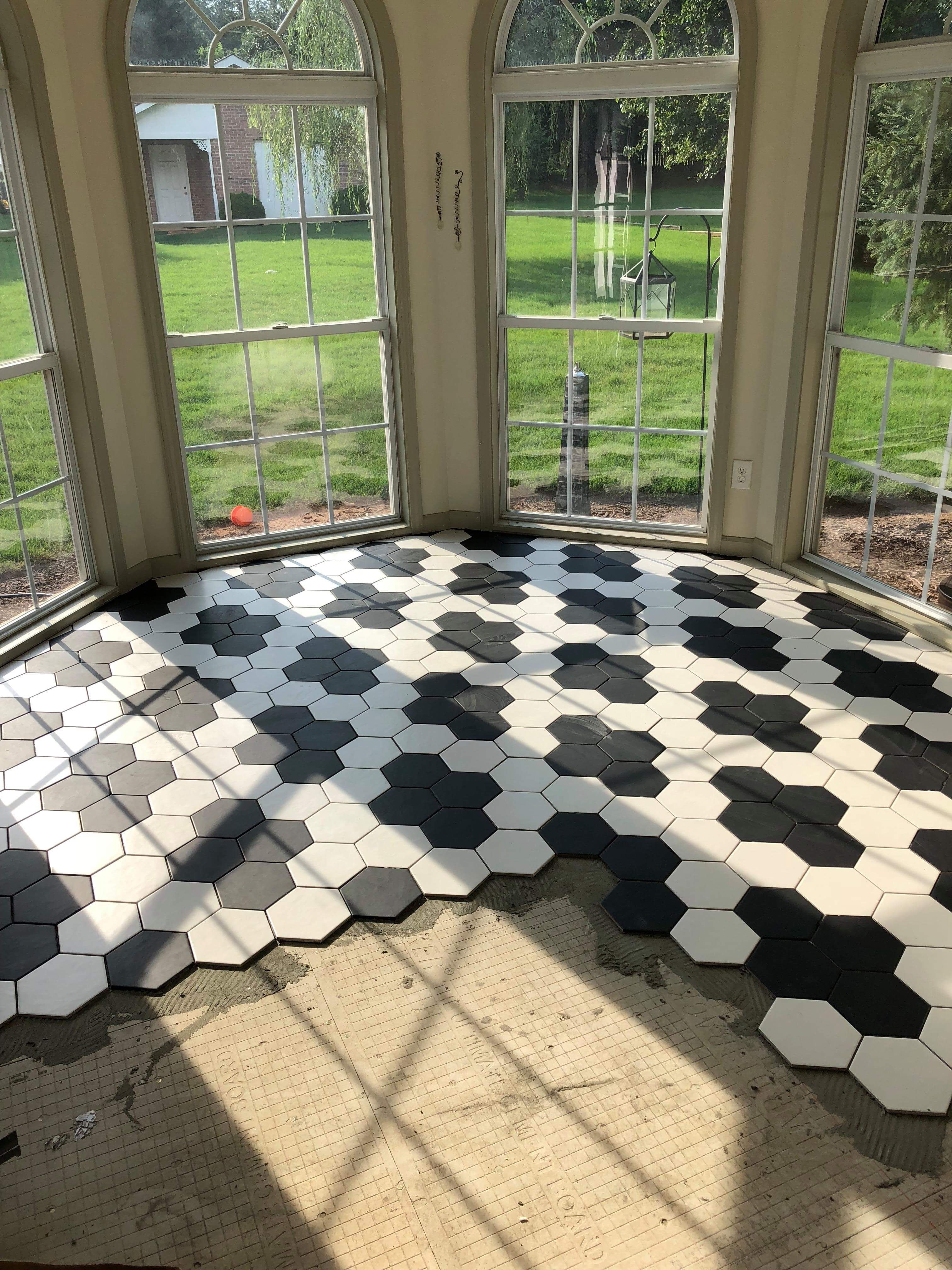 Black And White Hexagon Tile With Diamond Patter This Is In My Personal Sunroom White Hexagon Tiles Tile Bathroom White Hexagon Tile Bathroom