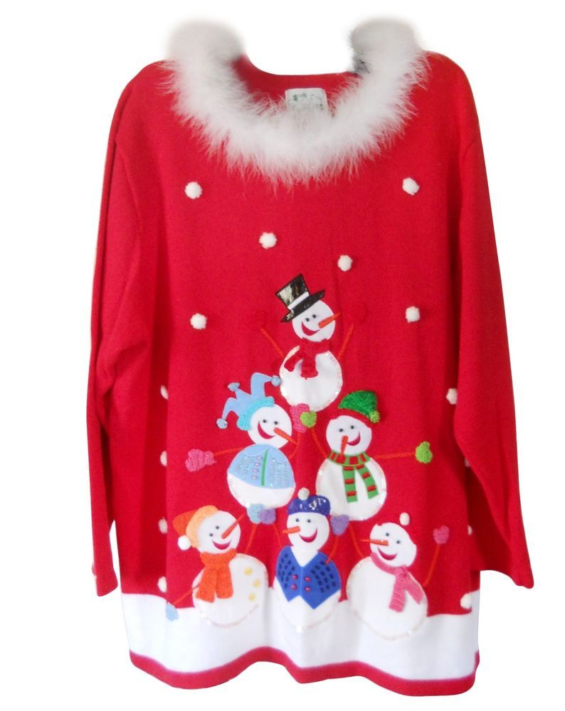 Details about The Quacker Factory 3X Women Plus Red Christmas