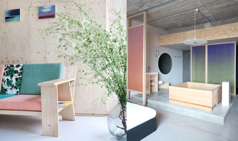 Canapé en bois volkshotel à amsterdam via goodmoods scandinavian