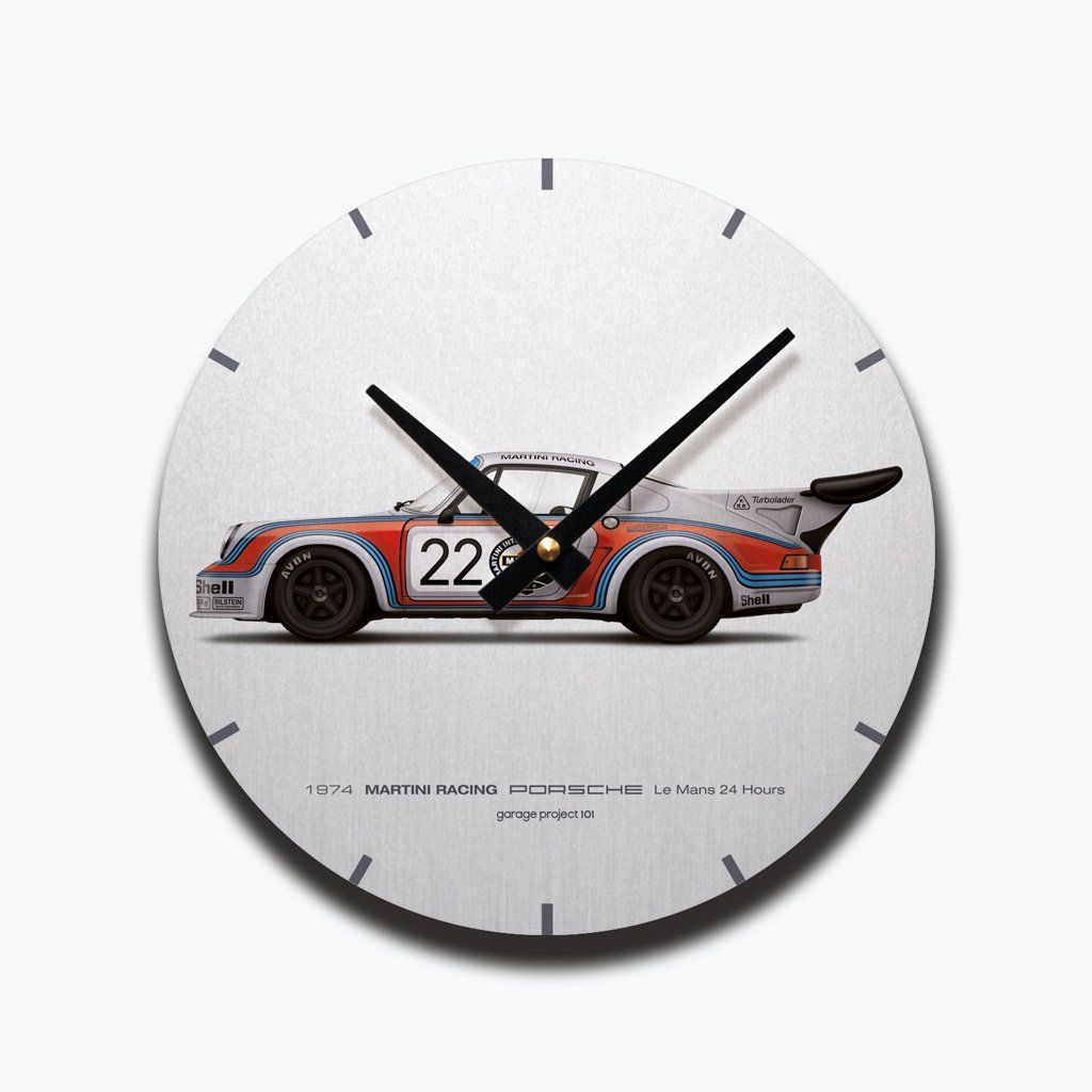 1974 Classic Porsche Martini Racing Le Mans 24 Hours Illustration Wall Clock Clock Wall Clock Illustration Wall