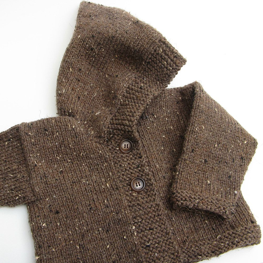 Toddler Hooded Knit Sweater . Baby Hoodie . Brown Tweed . Button ...