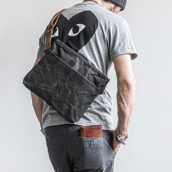 c59b1f48e529 Canvas Mens Cool Small Messenger Bag iPad Bag Chest Bag Bike Bag Cycling Bag  for men