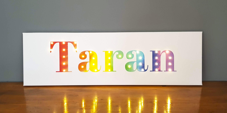 Custom Personalized Name Sign Custom Name Custom Word Art Etsy Night Light Kids Rainbow Wall Art Custom Word Art