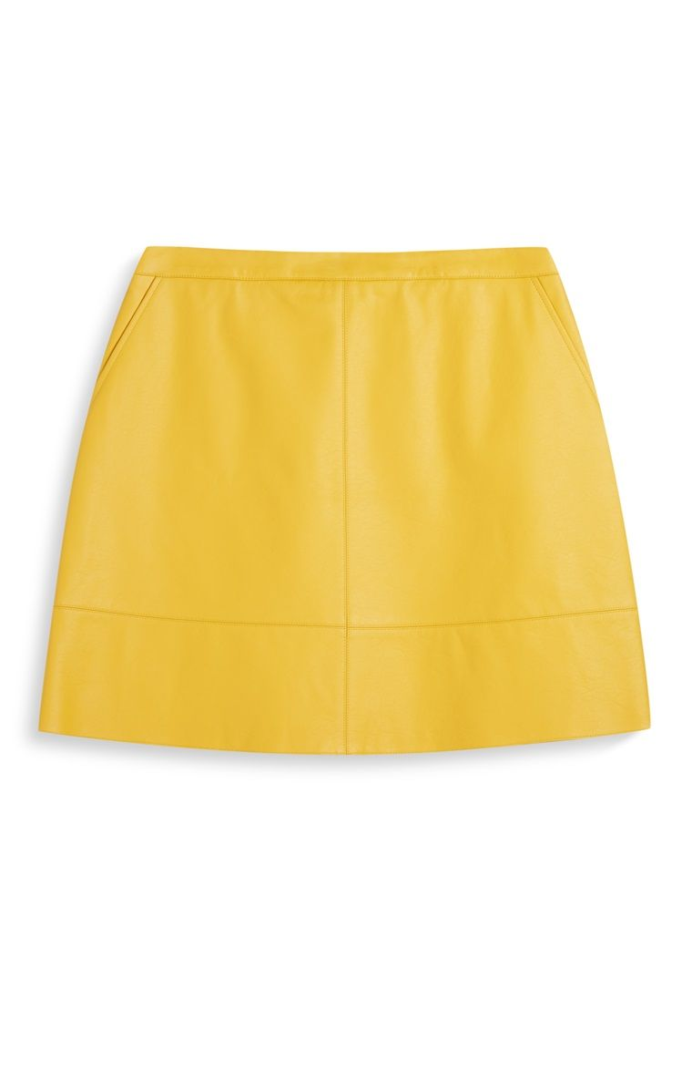 Primark - Yellow PU A-line Mini Skirt   Fashion   A line mini skirt ... 23247594bb