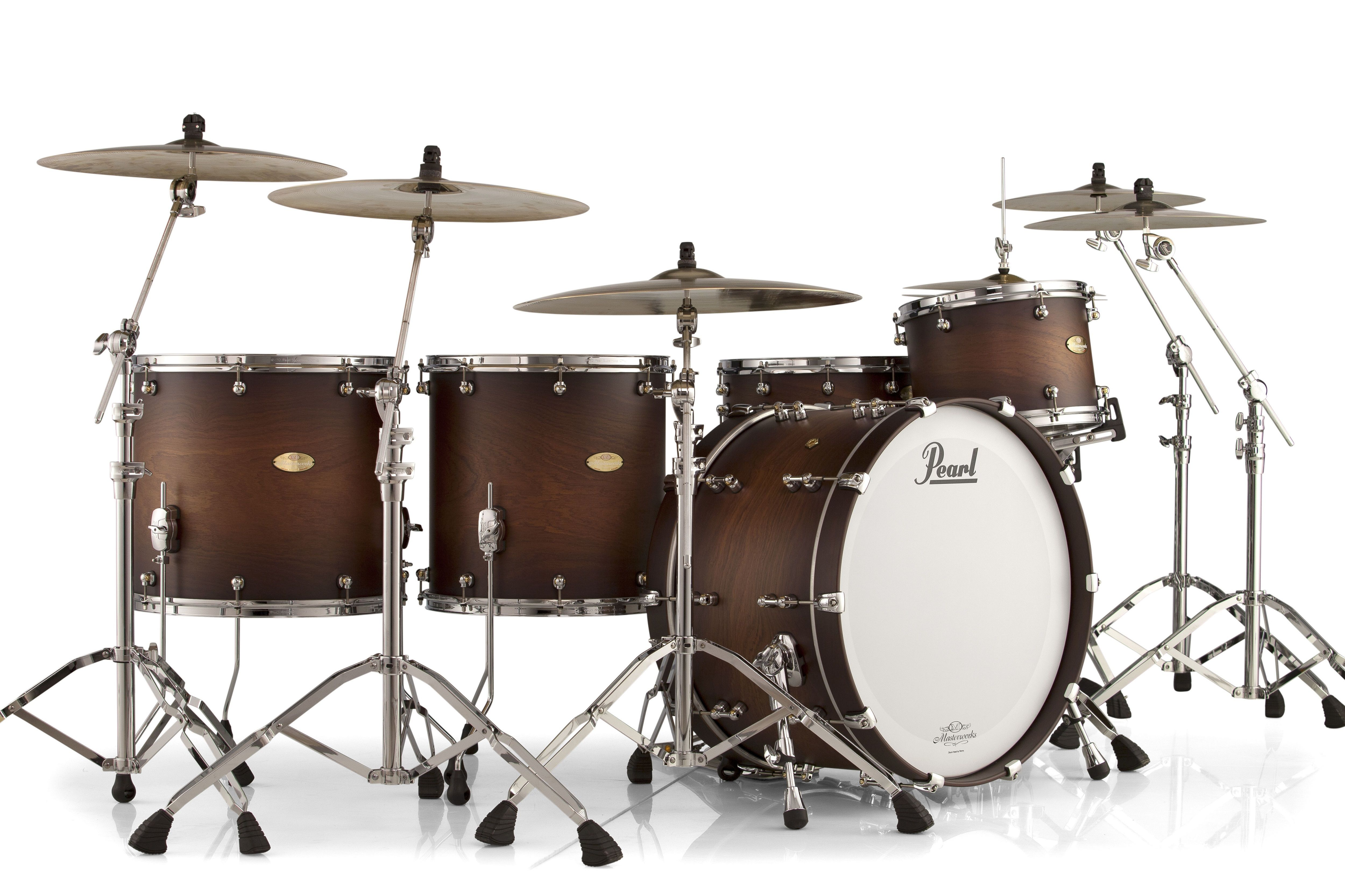 details about pearl masterworks 4pc drum set one up two down 24 18 16 13 satin cocoa burst. Black Bedroom Furniture Sets. Home Design Ideas