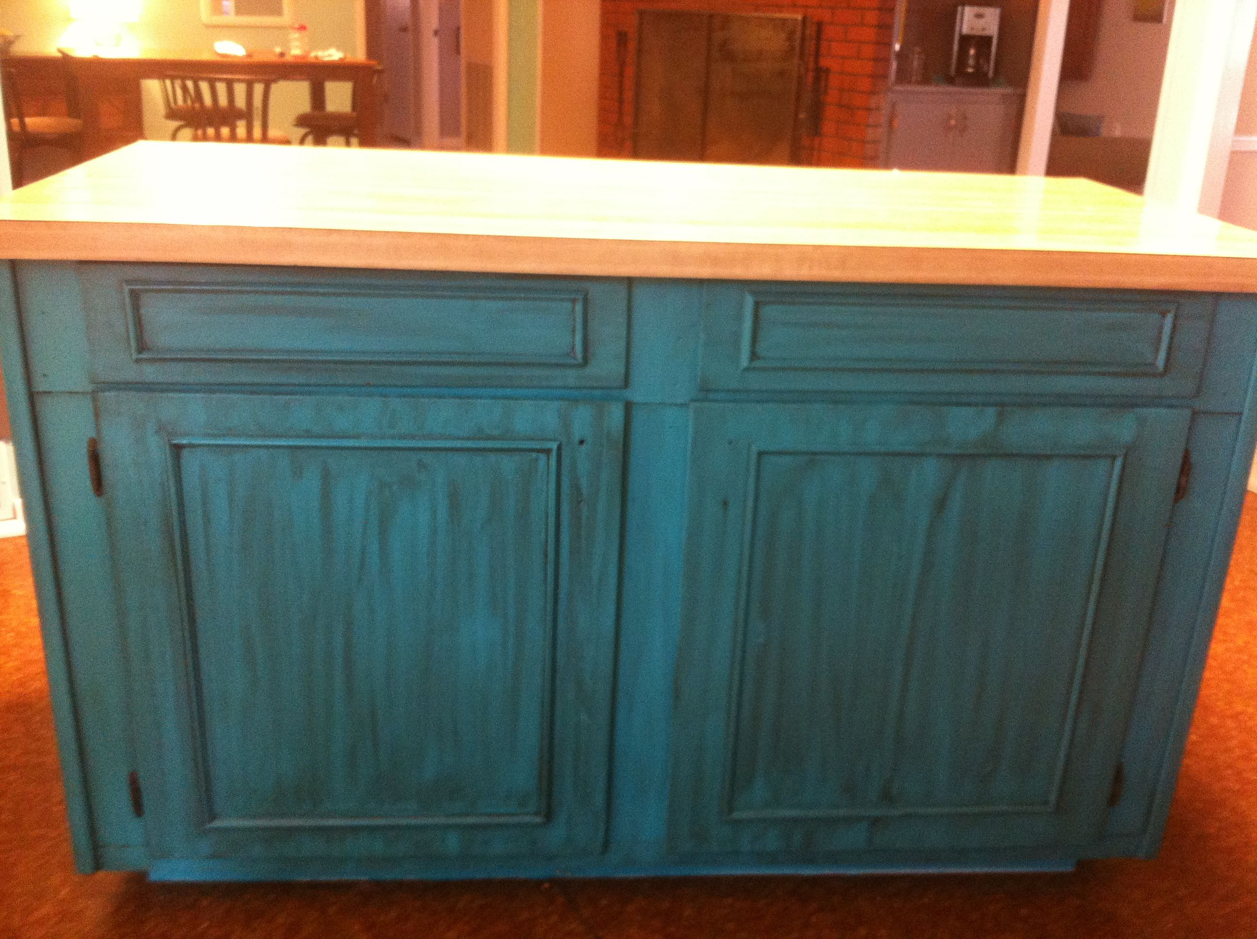 Teal Turquoise Island Kitchen Distressed