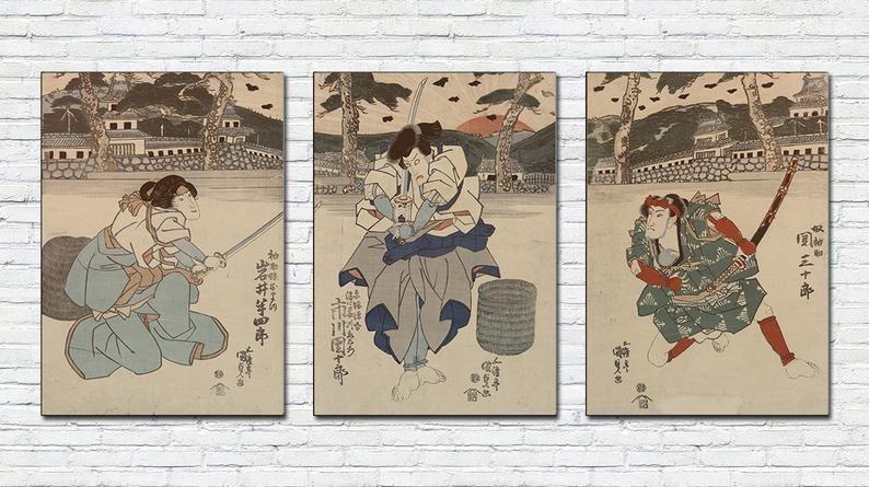 Japanese Samurai Triptych Print Japan Vintage Poster Antique Samurai Wall Art Set Japanese Warrior Printing Japan Fuji Sunrise Asian Print Paper Art Sculpture Vintage Posters Folded Book Art