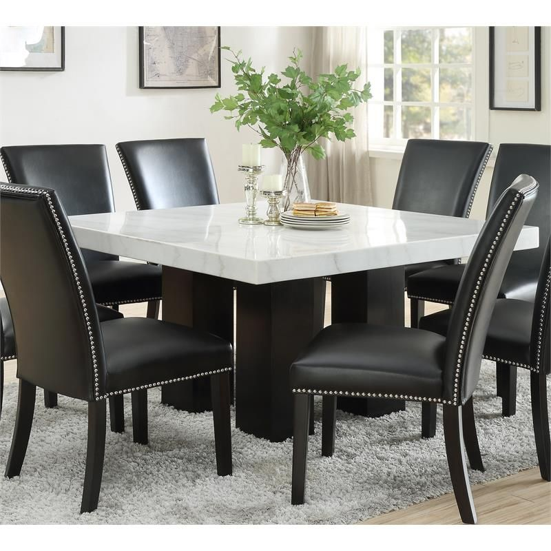 Camilla Marble Top Square Dining Table Cm540pt420wb In 2020 Square Dining Tables Dining Table Dining Table Marble
