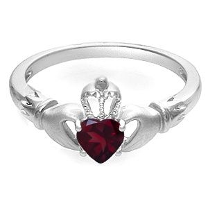 Jared Garnet Heart Claddagh Ring Sterling Silver Jewelry