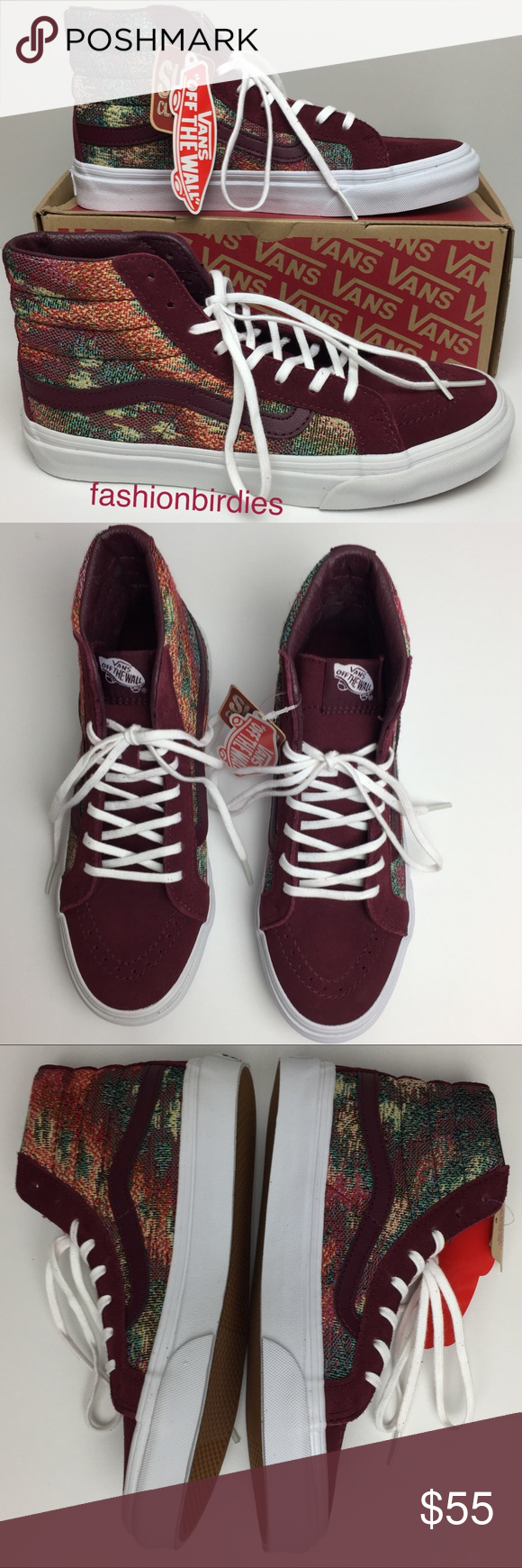 0c229d409b Vans SK8-Hi Slim Italian Weave Port Royale Beautiful rich jewel tone woven  pattern skate high top shoes. Suede and woven textile upper.