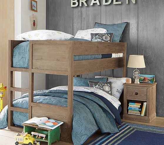 Camden Twin Over Twin Low Bunk Bed Smoked Gray Pottery Barn