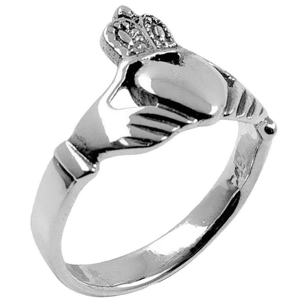Sleek Claddagh Sterling Silver Ring Irish wedding rings