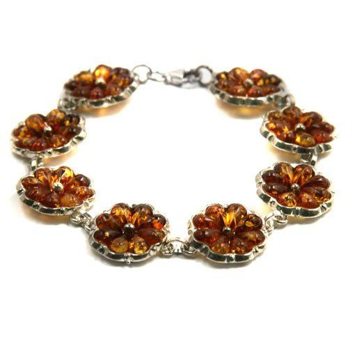 """Baltic Honey Amber and Sterling Silver Trust Flower Bracelet 7.5"""" Ian and Valeri Co.. $95.00. Save 63%!"""
