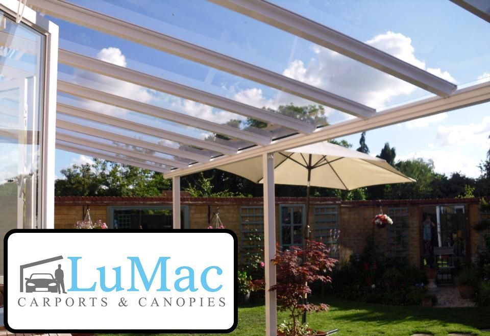 CLEAR AS GLASS Dining Patio Canopy Cover Lean To Shelter Garden Pergola  Seating