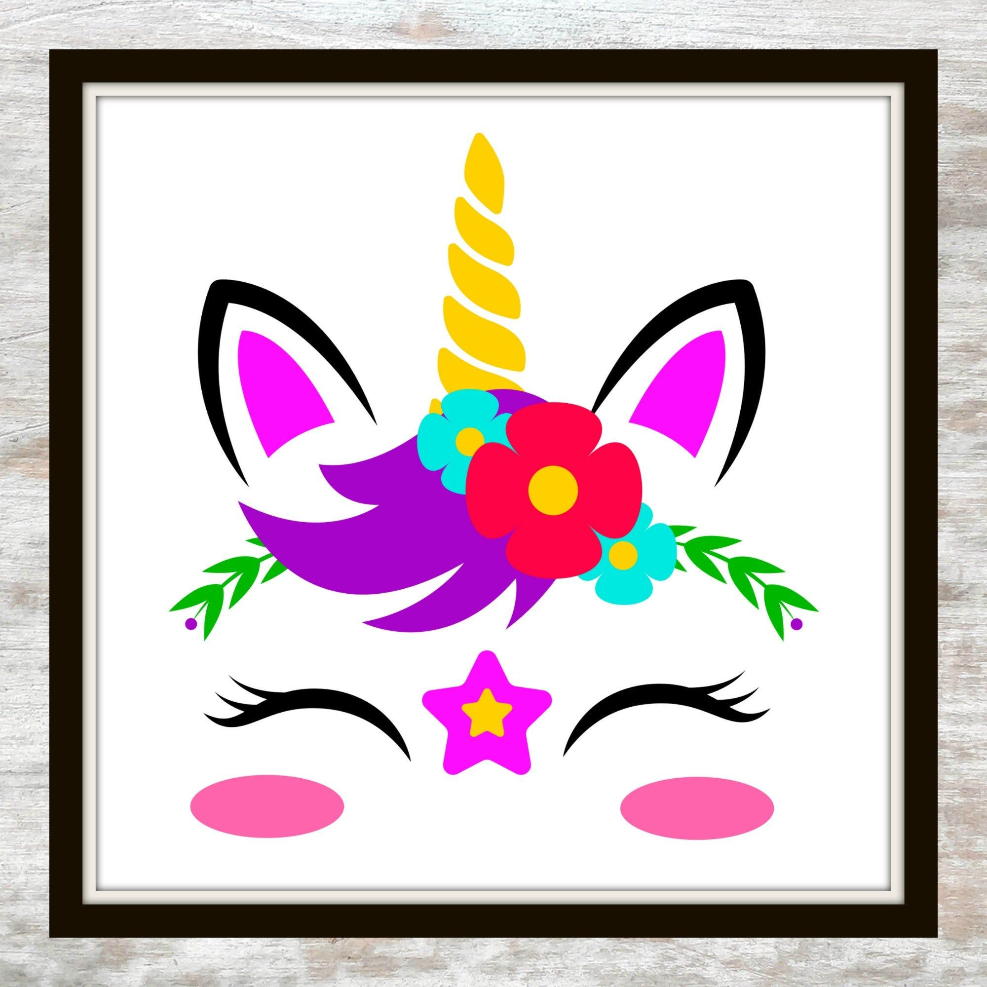 Floral Crown Magical Unicorn Unicorn Printable Magical Unicorn Magical Printable Illustration Flowers Printable Stars Unicorn Face Unicorn Drawing Unicorn Stickers