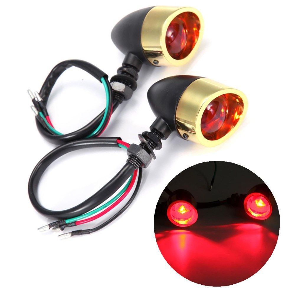 Left Right Sides Metal Bullet Turn Signal Light Indicators Red Lens For Harley Davidson Softail Sportster Ch Motorcycle Accessories Softail