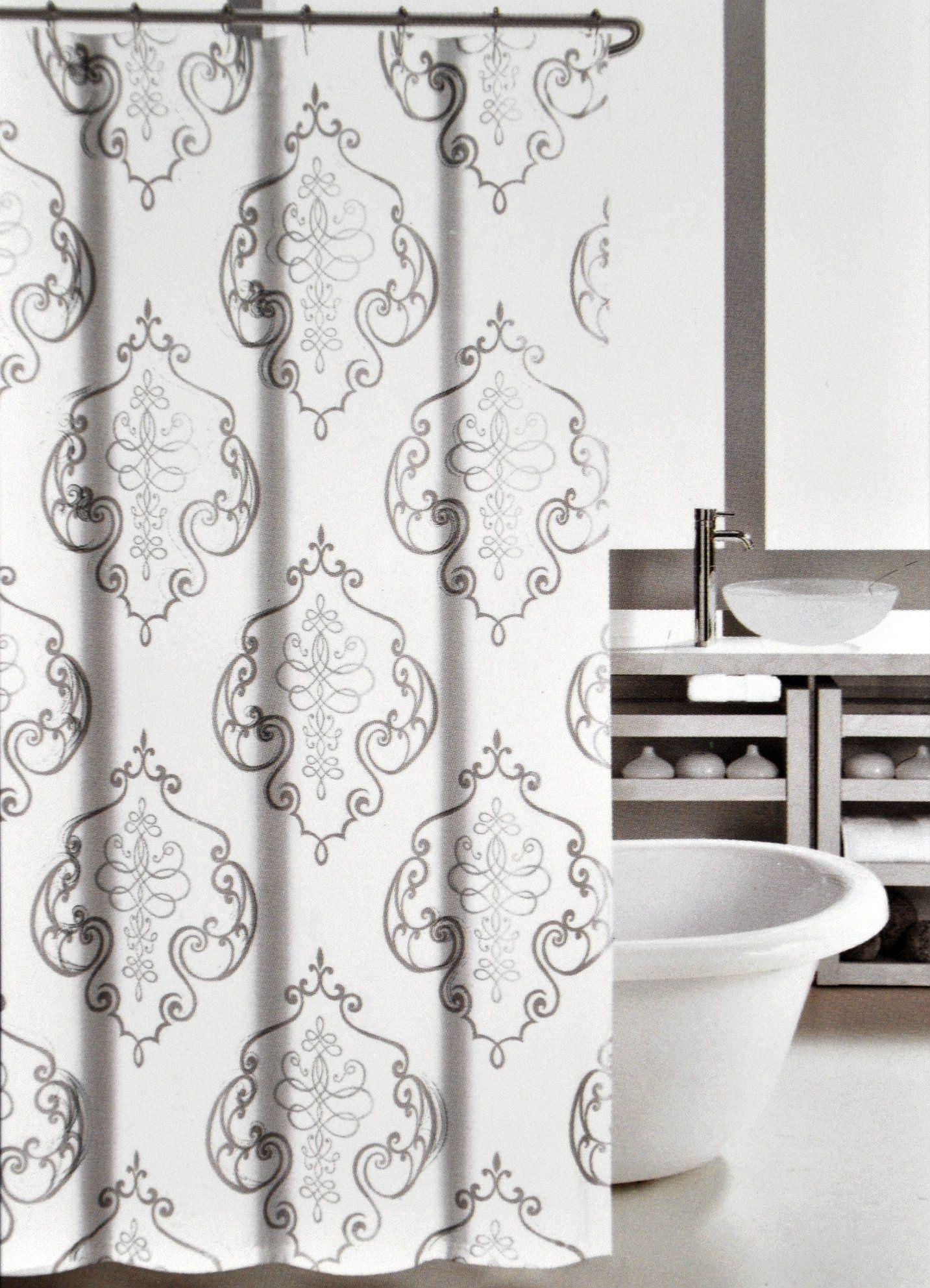 Nicole Miller Fabric Shower Curtain Silver Foil Grey Scroll Regal ...