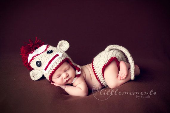 Baby Crochet Sock Monkey Set with Diaper Cover & Tail Photography ...