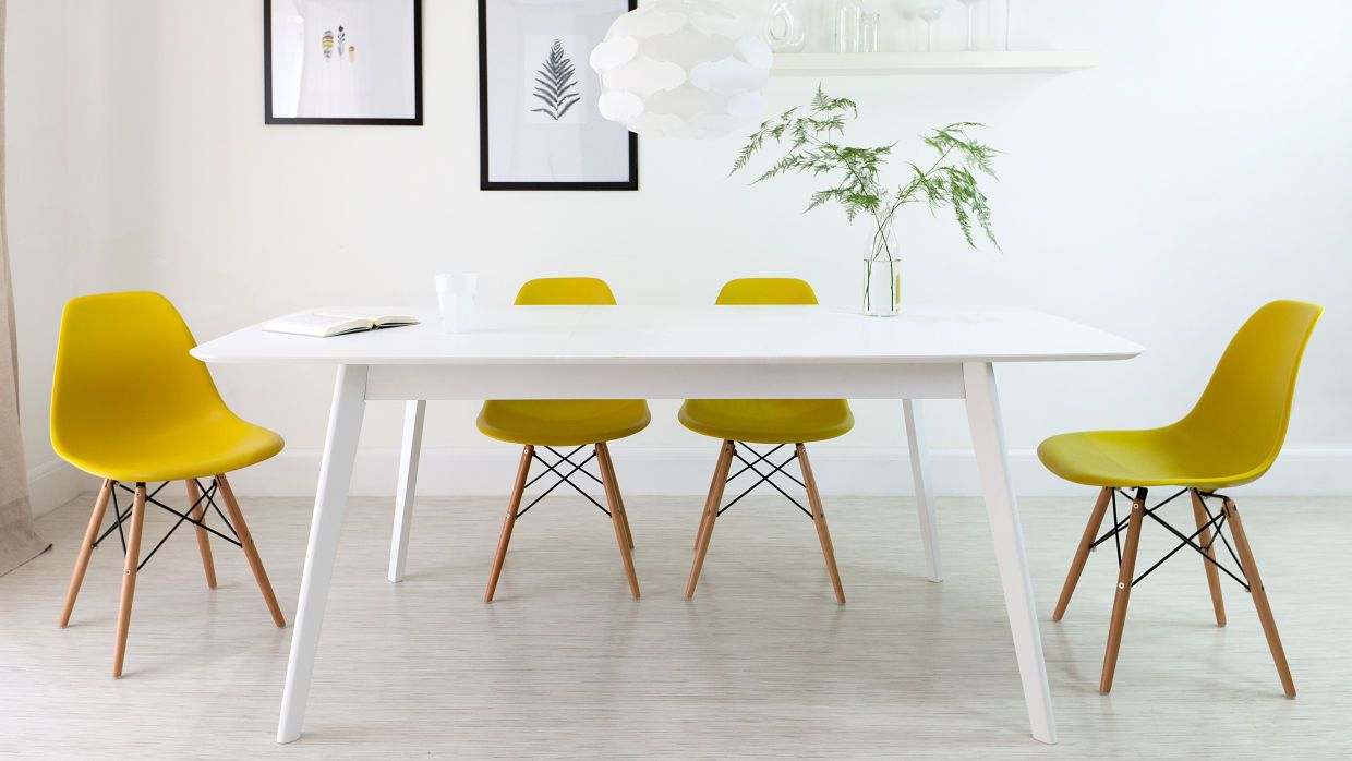 Genial Modern Eames Extending Dining Set  Yellow And White Work Perfectly Together  In Any Home. As Proven By The Aver White Extending Dining Table And Eames  Dining ...