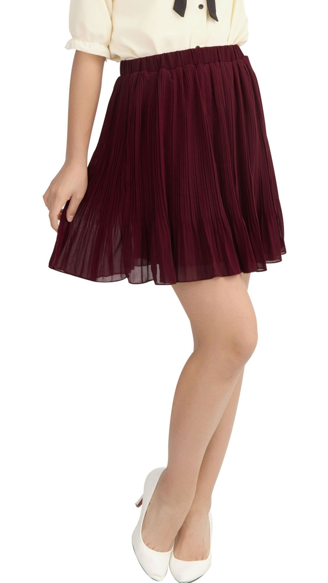 67bad108bf4 Women's Summer Cinched Waist Chiffon Pleated Mini Skirt Black (Size M / 10)  Burgundy S (US 6)#Waist, #Chiffon, #Pleated