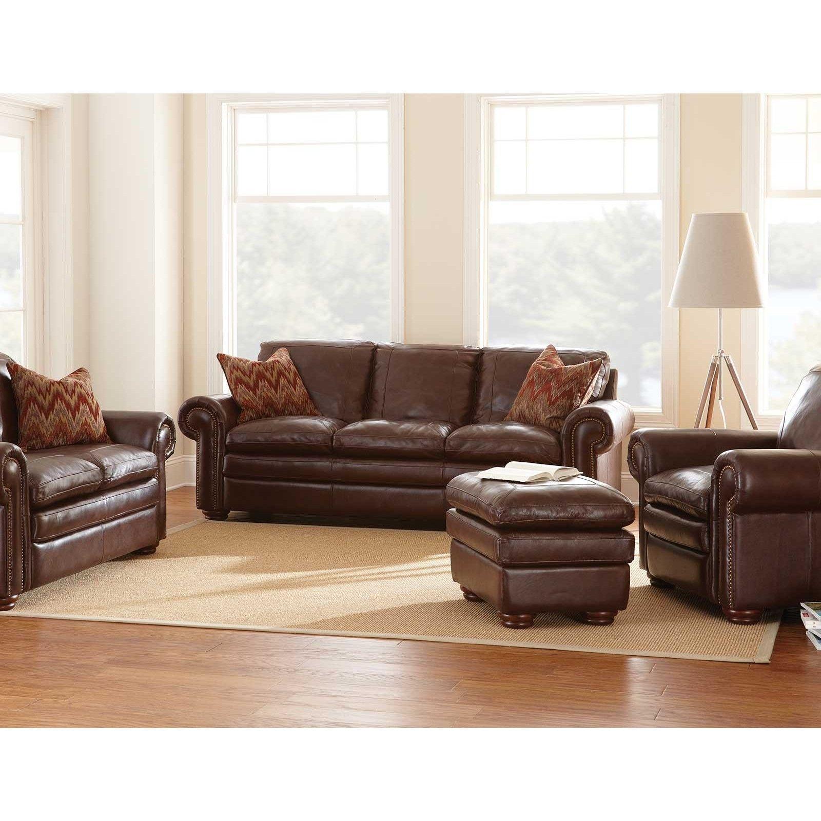 Furniture Living Room Dark Brown Full Grain Leather Sofa Combined