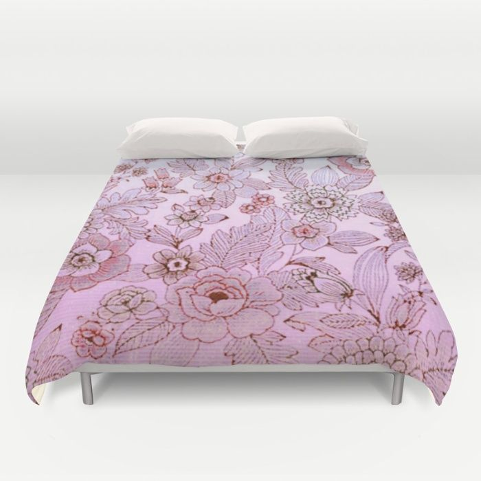 floral in soft pink and blue Duvet Cover