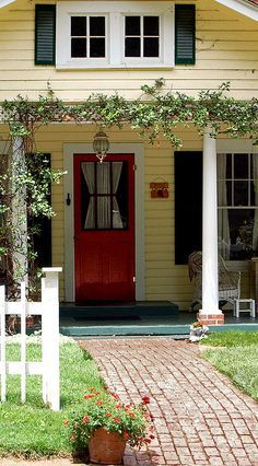 Yellow house with red door | Pinterest | Yellow houses, White trim ...