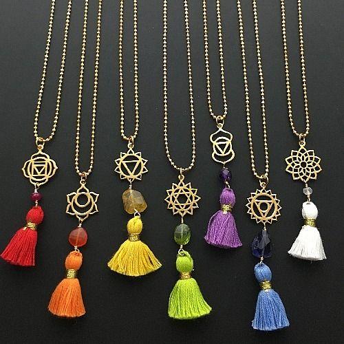 chakra charms, yoga charms, yoga jewelry, chakras, tassel jewelry, tassels, necklace design