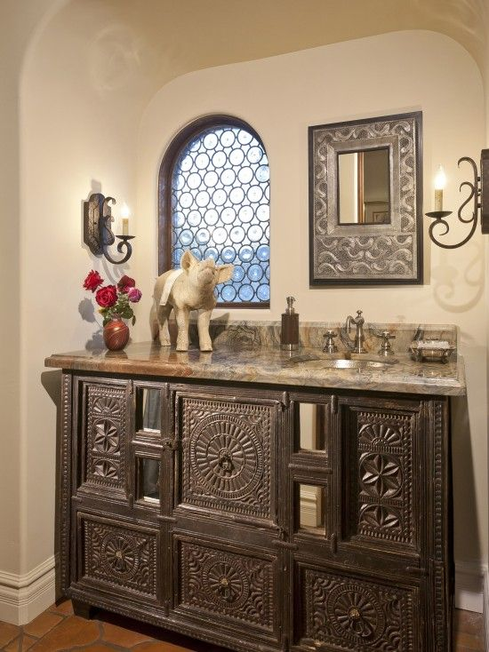 Mediterranean Powder Room Design, Pictures, Remodel, Decor ...