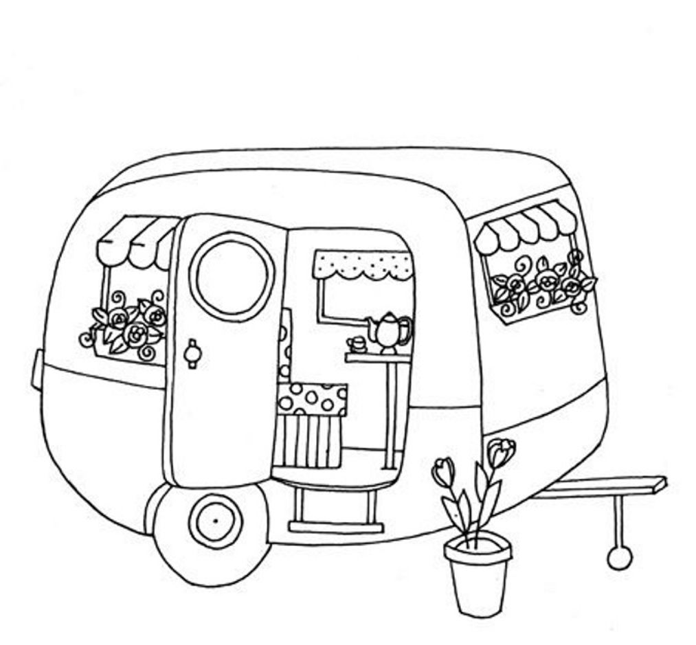 Cute Trailer Caravan Colouring Page Redwork Embroidery Vintage
