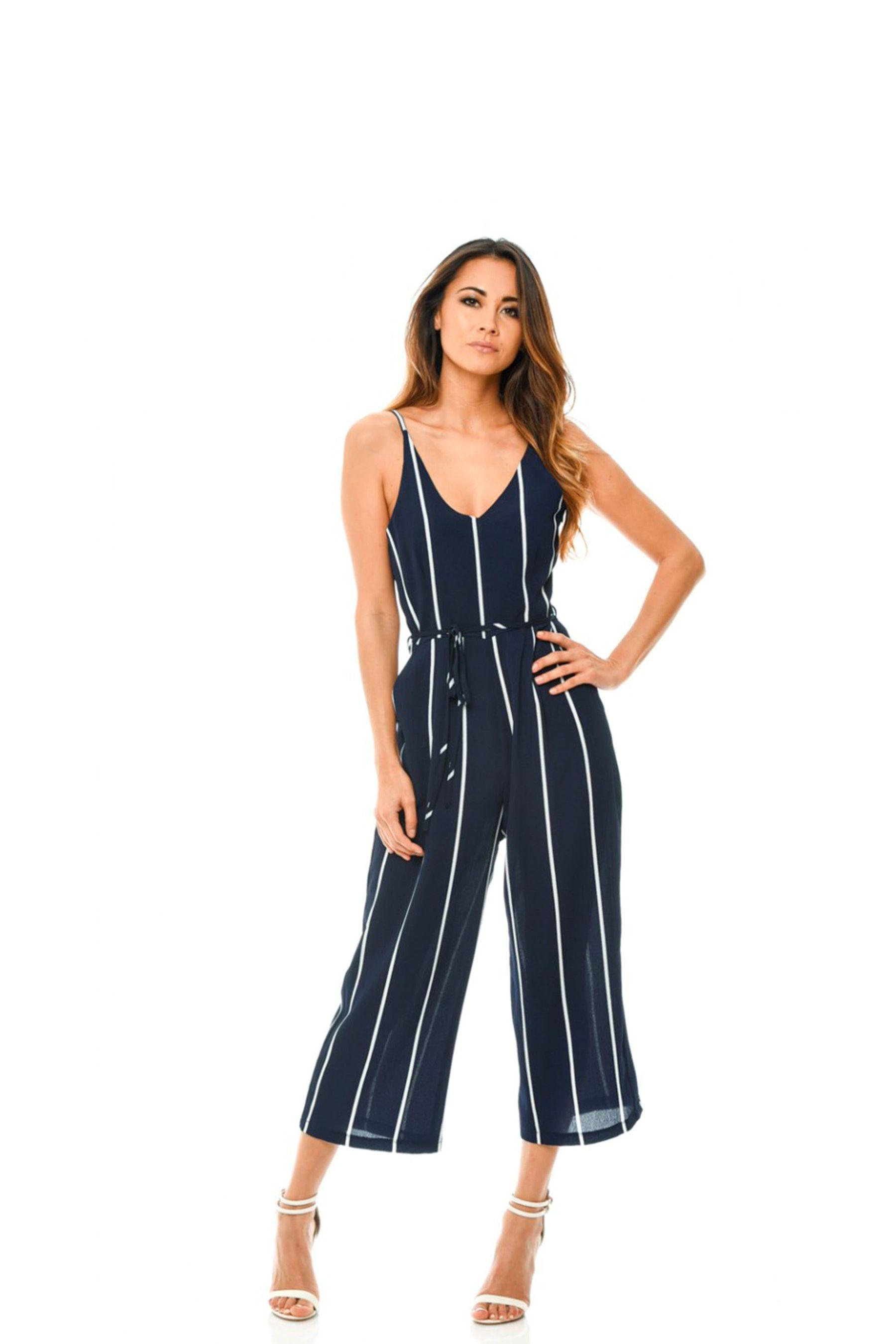 e04e8a9c7501 Womens AX Paris Striped Culotte Jumpsuit - Blue