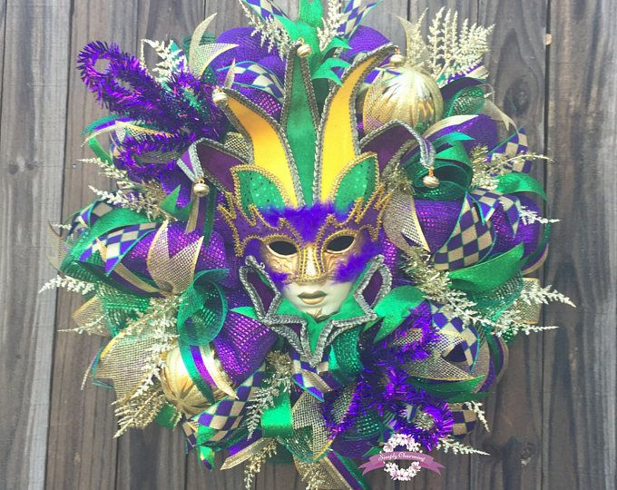 Plain Mardi Gras Masks To Decorate Pleasing Mardi Gras Mask Wreath Mardi Gras Deco Mesh Wreath Fat Tuesday Inspiration