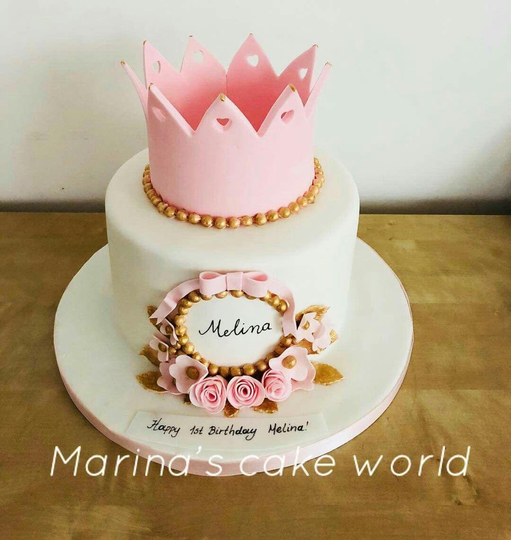 A Cute Cake For A Little Princess Greeksinlondon Marinascakeworld Canarywharf Isleofdogs Towerhamlets Londonmum Princessca Cute Cakes Cake Crown Cake