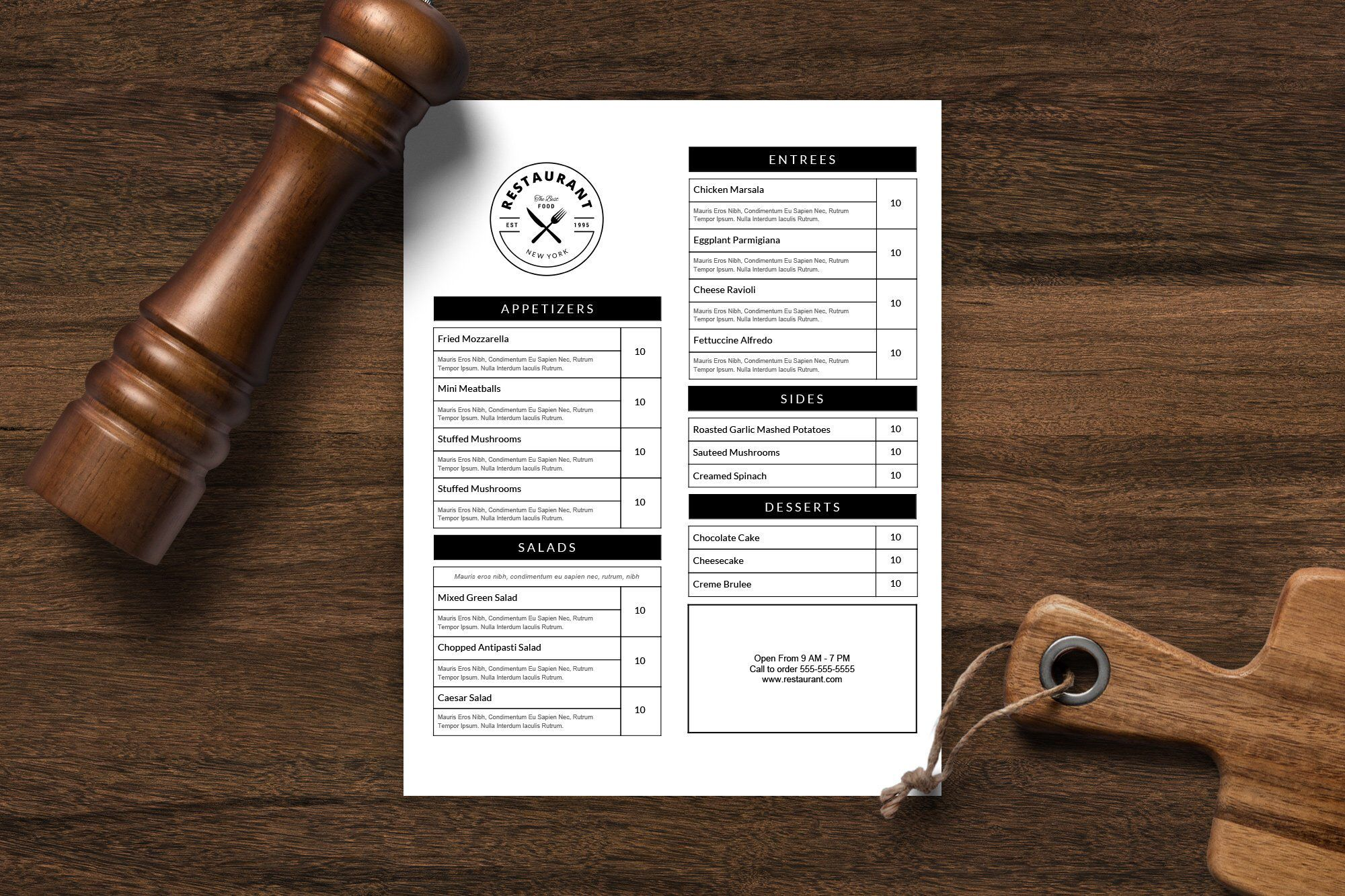 restaurant menu template restaurant menu printable menu editable