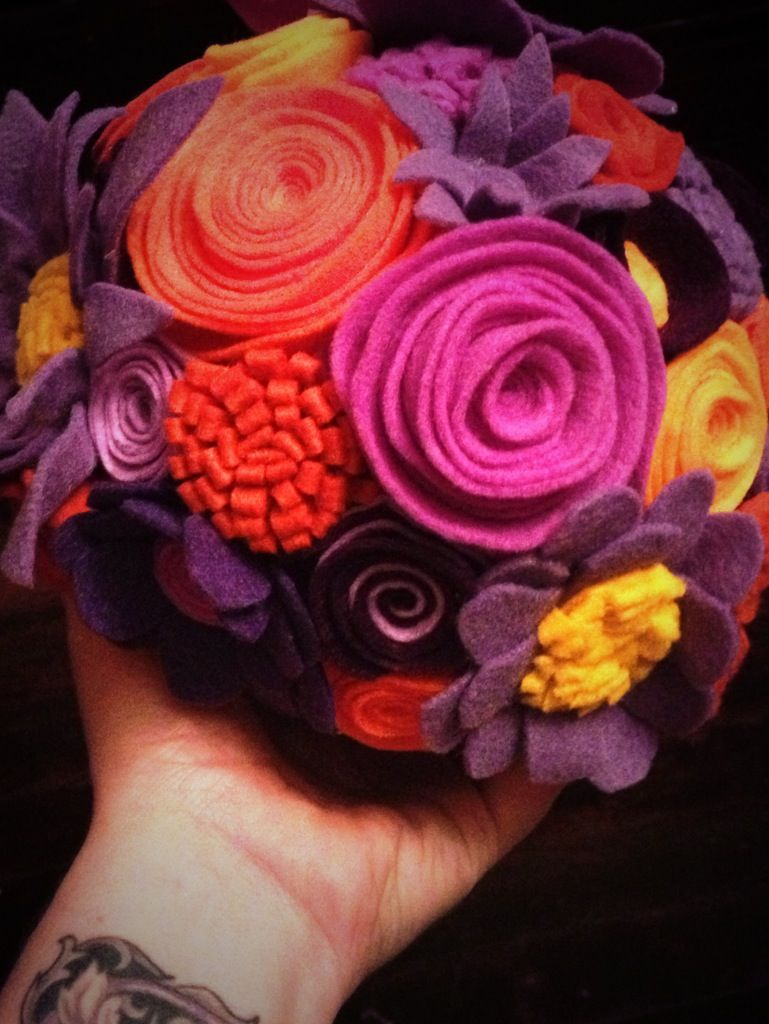 Felt flower ball bouquet for my fall wedding! (I made this!) | My ...