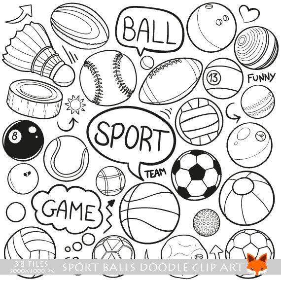 SPORT BALLS vector doodle icons. Training Sport Doodle